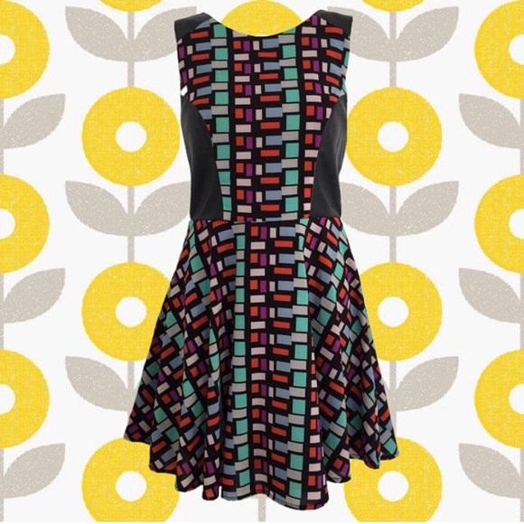 Vintage Dresses & Skirts - vintage 90's black & bright colors patterned dress